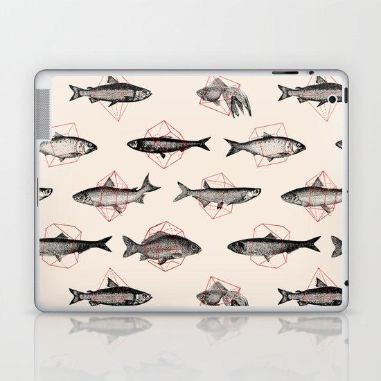 Fishes In Geometrics (Red) Laptop & iPad Skin