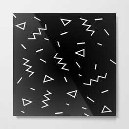 Inverted Black and White Zig Zag Print Metal Print