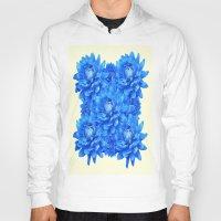 blankets Hoodies featuring Decorative  Opulent Baby Blue Dahlia Flowers Art Work Design by SharlesArt