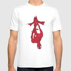 Hanging Out. Spiderman Mens Fitted Tee White MEDIUM