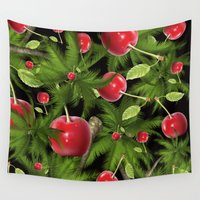 cherry Wall Tapestries featuring cherry by mark ashkenazi