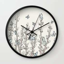 Blue Moth Pussy Willow Wall Clock