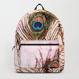 Boho Chic Peacock Feathers Pink Mandala Sun Backpack