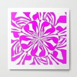 Zebra Kaleidoscope Hot Pink and White Metal Print