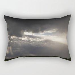 Stormy Sky with Sunbeams and Rain Rectangular Pillow