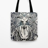 decal Tote Bags featuring Lion by Feline Zegers
