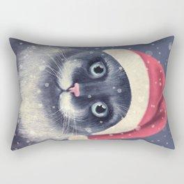 Christmas cat with a mustache Rectangular Pillow