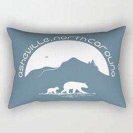 Asheville - Mountains & Black Bears - AVL 11 White on Greyblue Rectangular Pillow