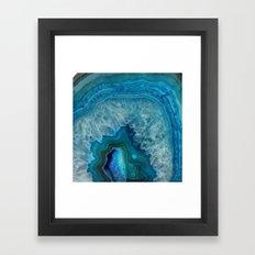 Blue faux druse crystal quartz gem gemstone geode mineral stone science specimen photograph hipster  Framed Art Print