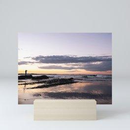 Photographer takes photos during sunset at Snapper Rocks Mini Art Print