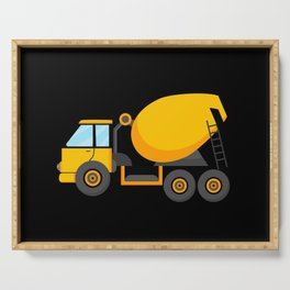 Cement mixer truck for kids loaded with earth Serving Tray