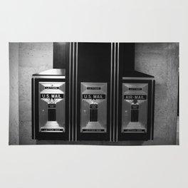Mailboxes Black and White Original Photo Rug