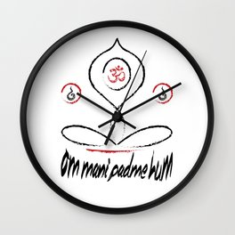 Yoga .:om mani padme hum Wall Clock