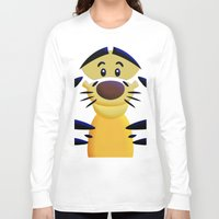 cartoons Long Sleeve T-shirts featuring Cute Orange Cartoons Tiger Apple iPhone 4 4s 5 5s 5c, ipod, ipad, pillow case and tshirt by Three Second