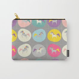 Cute Unicorn polka dots grey pastel colors and linen texture #homedecor #apparel #stationary #kids Carry-All Pouch