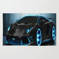 sports Area & Throw Rugs featuring sports cars  , sports cars  games, sports cars  blanket, sports cars  duvet cover,  by ira gora