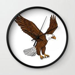 Bald Eagle Flying Drawing Wall Clock