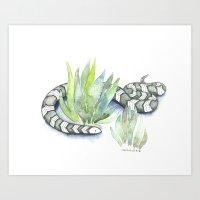 Snake in Plants Art Print