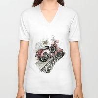 vespa V-neck T-shirts featuring Vespa by Mariqui Romero