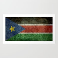 Republic of South Sudan national flag - Vintage version Art Print