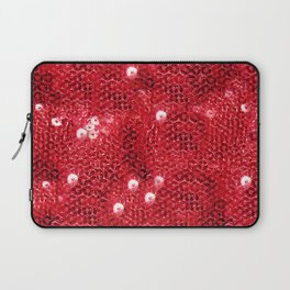 Faux Red Sequin Background Laptop Sleeve