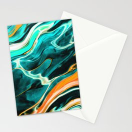 Blue Green Painting Stationery Cards