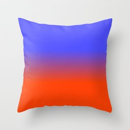 Neon Blue and Neon Orange Ombré  Shade Color Fade Throw Pillow