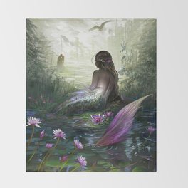 Little mermaid - Lonley siren watching kissing couple Throw Blanket
