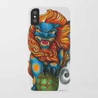 foo fighters iPhone & iPod Cases featuring Foo Dog by missfortunetattoo