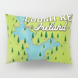 Lough Ree Ireland map travel poster Pillow Sham