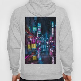 Cyberpunk Aesthetic in Tokyo at Night Vertical Hoody