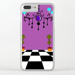 An Elegant Hall of Mirrors with Chandler and Topiary in Purples Clear iPhone Case