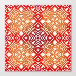 Tribal Tiles II (Red, Orange, Brown) Geometric Canvas Print