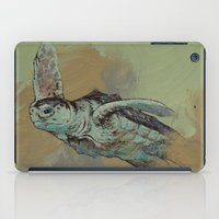 sea turtle iPad Cases featuring Sea Turtle by Michael Creese