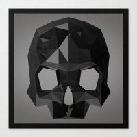 low poly Canvas Prints featuring Black skull low poly by Daniel Delgado