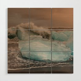 Sunset at the Glacier Lagoon Wood Wall Art