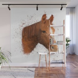 Brown and White Horse Wall Mural