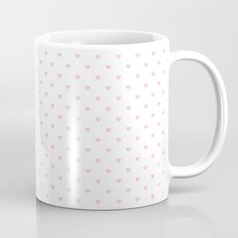 Mini Millennial Pink Pastel Love Hearts on White Coffee Mug
