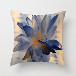 Midnight Blue Polka Dot Floral Abstract Throw Pillow