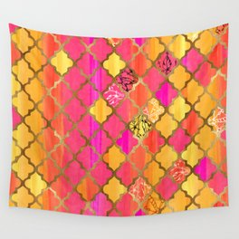 Moroccan Tile Pattern In Pink, Red, Orange, And Gold Wall Tapestry