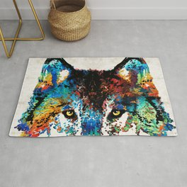 Wolf Art Print - Hungry - By Sharon Cummings Rug
