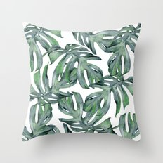 Tropical Palm Leaves Green Throw Pillow