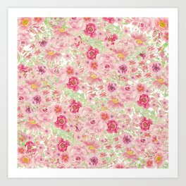 Pastel pink red watercolor hand painted floral Art Print