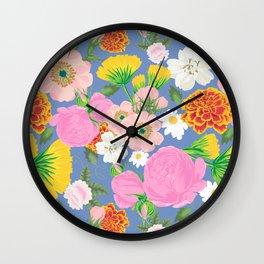 Garden Chintz in Delft Blue Wall Clock