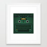 typewriter Framed Art Prints featuring typewriter by The Geek Store
