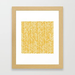 Boho Mudcloth Pattern, Summer Yellow Framed Art Print