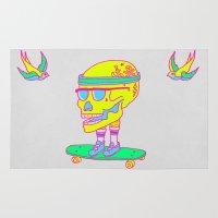 skateboard Area & Throw Rugs featuring Skull on a skateboard by Yuppie