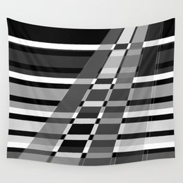 Black and white abstract pattern . The slant line 1. Wall Tapestry