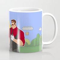 luigi Mugs featuring Mario - Luigi and Peach by MortinfamiART