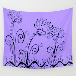 Three Spring Flowers in Lavender Wall Tapestry